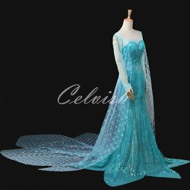 アナと雪の女王 エルサ風 Elsa ドレス プリンセスドレス コスプレ衣装 パーティー cl-2724D005
