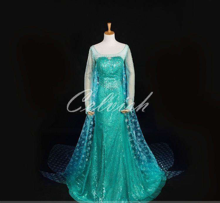 アナと雪の女王 エルサ風 Elsa 豪華版 ドレス プリンセスドレス コスプレ衣装 パーティー カラオケ cl-2724D006