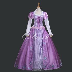 ラプンツェル 風 豪華版ドレス プリンセスドレス コスプレ衣装 パーティー カラオケ cl-2823317806