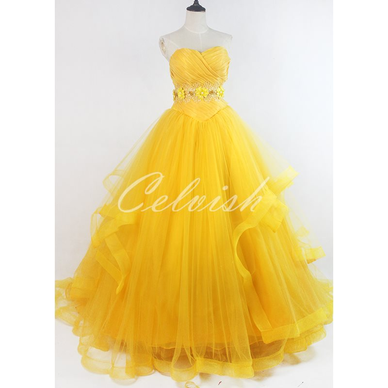 美女と野獣 ベル 風 ディズニー ハロウィン コスプレ プリンセスドレス コスプレ衣装 cl-2923D012