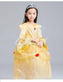 コスプレ ドレス ベル風 プリンセスドレス 子供 ドレス 衣装 C-2858BE77