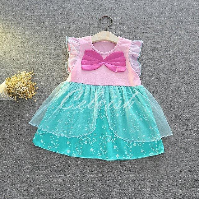ディズニー ハロウィン コスプレ ドレス リトルマーメイド アリエル 風 プリンセスドレス 子供 ドレス 衣装 C-29581942PG
