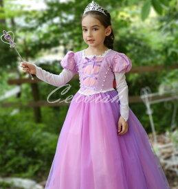 ラプンツェル 風 パープル プリンセスドレス コスプレ ドレス 子供 ドレス 衣装 仮装 c-30580419