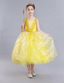 ベル風 クリスマス コスプレ ドレス ディズニー 美女と野獣 プリンセスドレス 子供 ドレス 衣装 コスプレ C-30582515S