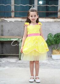 美女と野獣 ベル 風 プリンセスドレス 子供 ドレス 衣装 コスプレ C-30650e20