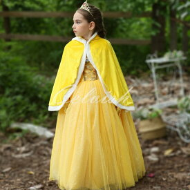 コスプレ ドレス ベル 風 子供 ドレス(マント付き) プリンセスドレス 美女と野獣 衣装 仮装 c-30580812s