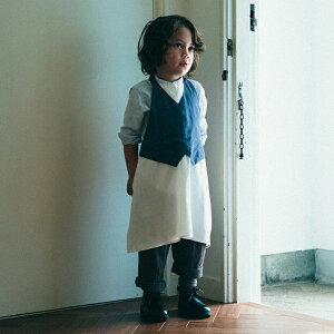 マールマール エプロン ギャルソン ボーイ MARLMARL お誕生日 男の子 キッズサイズ garcon お祝い プレゼント ギフト パーティ 前掛け オシャレ かっこいい グレー ブルー チャコール 3歳-6歳 ブラ