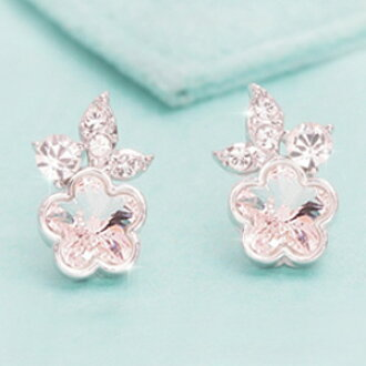 For Austria From Swarovski Crystal Flower Motif Earrings Womens Catch Accessories Jewelry Ladies Gift