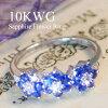 10KWGサファイアフラワーリング誕生日結婚記念日