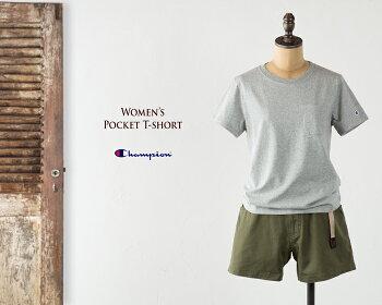 [チャンピオン]レディースウィメンズポケット付きTシャツCHAMPIONPOKECTT-SHIRTCW-F323/CW-J301