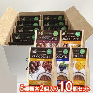 5種類各2個 アーモンド ブルーベリー マンゴー サチャインチナッツ ゴールデンベリー 有機ペルー産カカオ70% オーガニック ダークチョコレート ココナッツシュガー 100g 5種類各2個 10個セ