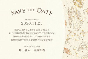 セーブ・ザ・デート 【印刷込み】【デザイン込み】 星空の宴 (10枚セット) (セーブザデート 結婚式 プレ招待状)