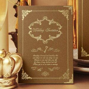 結婚式 招待状 【印刷込み 20部から】 ルクール ブラウン (10名用) 招待状 封筒 宛名 印刷付き 無料 台紙 封 シール 用紙