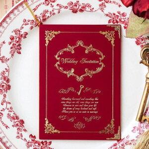結婚式 招待状 【印刷込み 20部から】 ルクール ワインレッド (10名用) 招待状 封筒 宛名 印刷付き 無料 台紙 封 シール 用紙