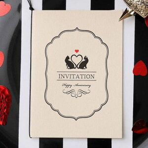 結婚式 招待状 【印刷込み 20部から】 ミネット コル (10名用) 招待状 封筒 宛名 印刷付き 無料 台紙 封 シール 用紙