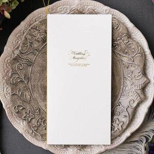 席次表 【印刷込み 20部から】 ブランシュ ホワイト (10名用) 結婚式 席次表 a4 台紙 メニュー プロフィール 写真 印刷付き 少人数対応