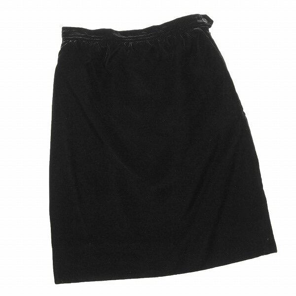 【中古】 イヴサンローラン リヴゴーシュ YVES SAINT LAURENT rive gauche 上質ベロアスカート 表記36号(5〜7号 SS〜S相当) 黒 パーティー・フォーマルに 秋冬 レディース