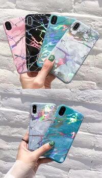 HOLOメタリックマーブルiPhoneケース