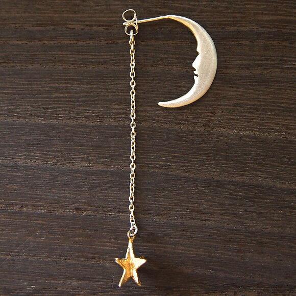 sasakihitomi(ササキヒトミ) 月と星のピアス Sサイズ シルバーの月 片耳 レディース [No-039-S] アクセサリー作家・佐々木ひとみ 手作りイヤーアクセサリー ハンドメイドジュエリー 揺れる 三日月 ムーン スター シンプル 吊り下げタイプ アンティーク 日本製 国産