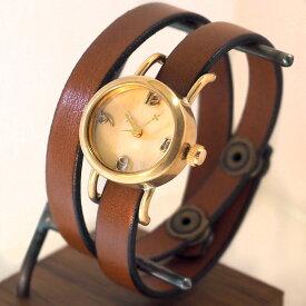 """【文字盤の木製パーツが選べます】vie(ヴィー) 手作り腕時計 """"collon wood -コロン ウッド-"""" 2重ベルト レディース [WB-051-W-BELT] ハンドメイドウォッチ・ハンドメイド腕時計 アンティーク調 アナログ 本革ベルト シンプル 滋賀 大津 木目 日本製 国産"""