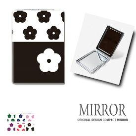 折りたたみ 鏡 ミラー 花柄 カメリア パターン 卓上ミラー 化粧鏡 かがみ コンパクトミラー かわいい メイク用 拡大鏡 拡大 両面 角型 ズーム メール便 送料無料