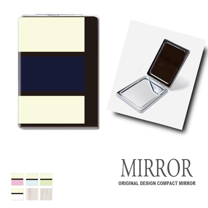 折りたたみ 鏡 ミラー [コスメ] 卓上ミラー 化粧鏡 かがみ コンパクトミラー かわいい メイク用 拡大鏡 拡大 両面 角型 ズーム ボーダー おしゃれ メール便 送料無料