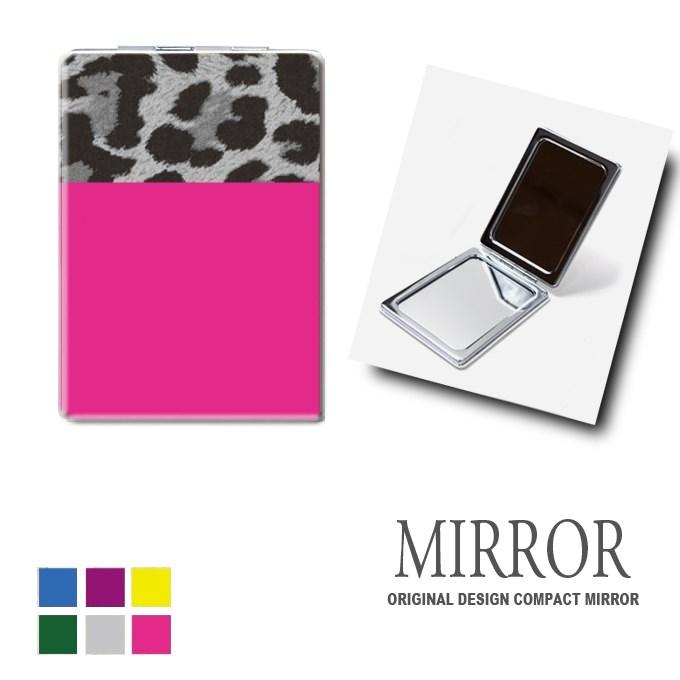 折りたたみ 鏡 ミラー [レオパード2] 卓上ミラー 化粧鏡 かがみ コンパクトミラー かわいい メイク用 拡大鏡 拡大 両面 角型 ズーム ヒョウ柄 おしゃれ メール便 送料無料