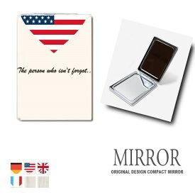 折りたたみ 鏡 ミラー 国旗 ハート シンプル 卓上ミラー 化粧鏡 かがみ コンパクトミラー かわいい メイク用 拡大鏡 拡大 両面 角型 ズーム