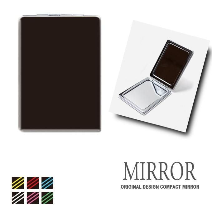 折りたたみ 鏡 ミラー [3ライン 線 シンプル ボーダー] 卓上ミラー 化粧鏡 かがみ コンパクトミラー かわいい メイク用 拡大鏡 拡大 両面 角型 ズーム メール便 送料無料