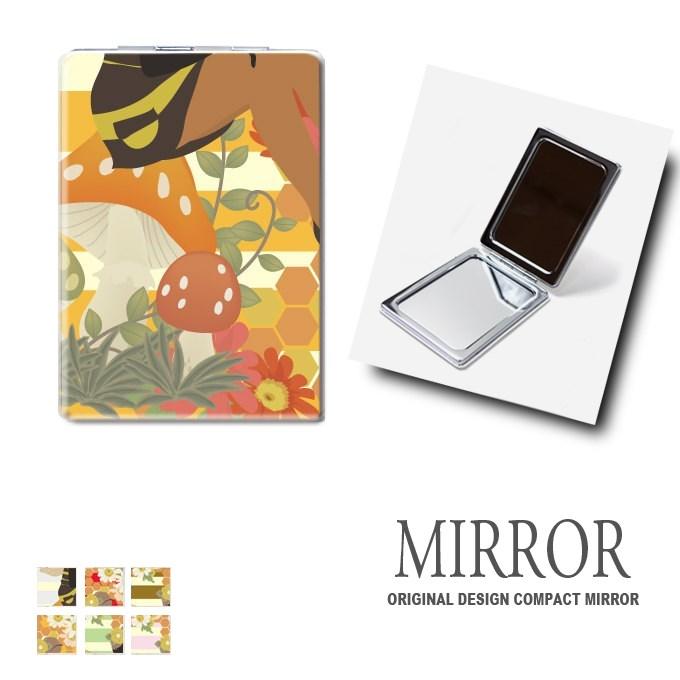 折りたたみ 鏡 ミラー [ハニー フェアリー ボーダー] 卓上ミラー 化粧鏡 かがみ コンパクトミラー かわいい メイク用 拡大鏡 拡大 両面 角型 ズーム メール便 送料無料