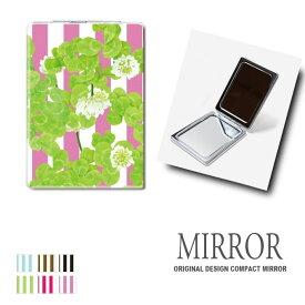 折りたたみ 鏡 ミラー クローバー ストライプ 卓上ミラー 化粧鏡 かがみ コンパクトミラー かわいい メイク用 拡大鏡 拡大 両面 角型 ズーム メール便 送料無料