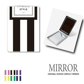 折りたたみ 鏡 ミラー ストライプ 卓上ミラー 化粧鏡 かがみ コンパクトミラー かわいい メイク用 拡大鏡 拡大 両面 角型 ズーム メール便 送料無料