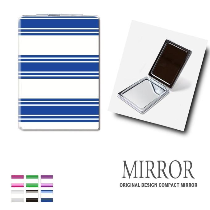 折りたたみ 鏡 ミラー [ストライプ ボーダー] 卓上ミラー 化粧鏡 かがみ コンパクトミラー かわいい メイク用 拡大鏡 拡大 両面 角型 ズーム メール便 送料無料