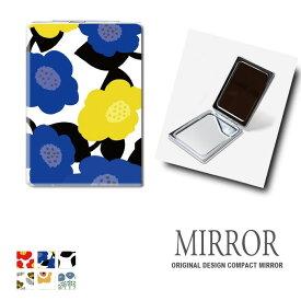 折りたたみ 鏡 ミラー 花柄 フラワー 北欧 卓上ミラー 化粧鏡 かがみ コンパクトミラー かわいい メイク用 拡大鏡 拡大 両面 角型 ズーム メール便 送料無料