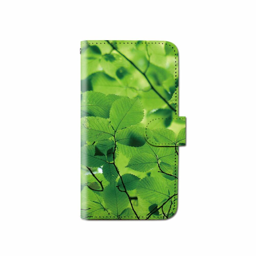 スマホケース 手帳型 全機種対応 [グリーン] iPhone XS XR Xperia XZ3 iPhone8 Galaxy S9 S8 android one S5 S3 X5 らくらくスマートフォン かんたんスマホ 705kc BASIO 手帳型ケース ベルトなし 植物 メール便 送料無料