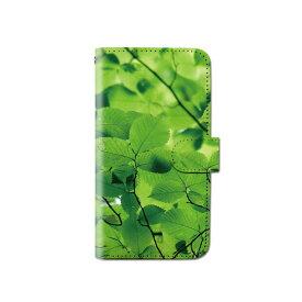 スマホケース 手帳型 全機種対応 グリーン iPhone XS XR Xperia XZ3 Ace iPhone8 Galaxy S10 S9 android one S5 S3 X5 AQUOS ARROWS Google pixel 3a らくらくスマートフォン BASIO3 手帳型ケース ベルトなし 植物 メール便 送料無料