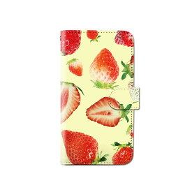 スマホケース 手帳型 全機種対応 イチゴ ストロベリー フルーツ iPhone XS XR Xperia XZ3 Ace iPhone8 Galaxy S10 S9 android one S5 S3 X5 AQUOS ARROWS Google pixel 3a らくらくスマートフォン BASIO3 手帳型ケース ベルトなし メール便 送料無料
