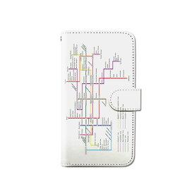 スマホケース 手帳型 全機種対応 路線図 電車 地下鉄 パステル iPhone XS XR Xperia XZ3 Ace iPhone8 Galaxy S10 S9 android one S5 S3 X5 AQUOS ARROWS Google pixel 3a らくらくスマートフォン BASIO3 手帳型ケース ベルトなし メール便 送料無料
