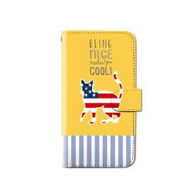 スマホケース 手帳型 全機種対応 アメリカン キャット 猫 ネコ iPhone XS XR iPhone11 Xperia XZ3 Ace iPhone8 Galaxy S10 S9 android one S5 S3 AQUOS ARROWS Google pixel 3a らくらくスマートフォン BASIO3 手帳型ケース ベルトなし メール便 送料無料