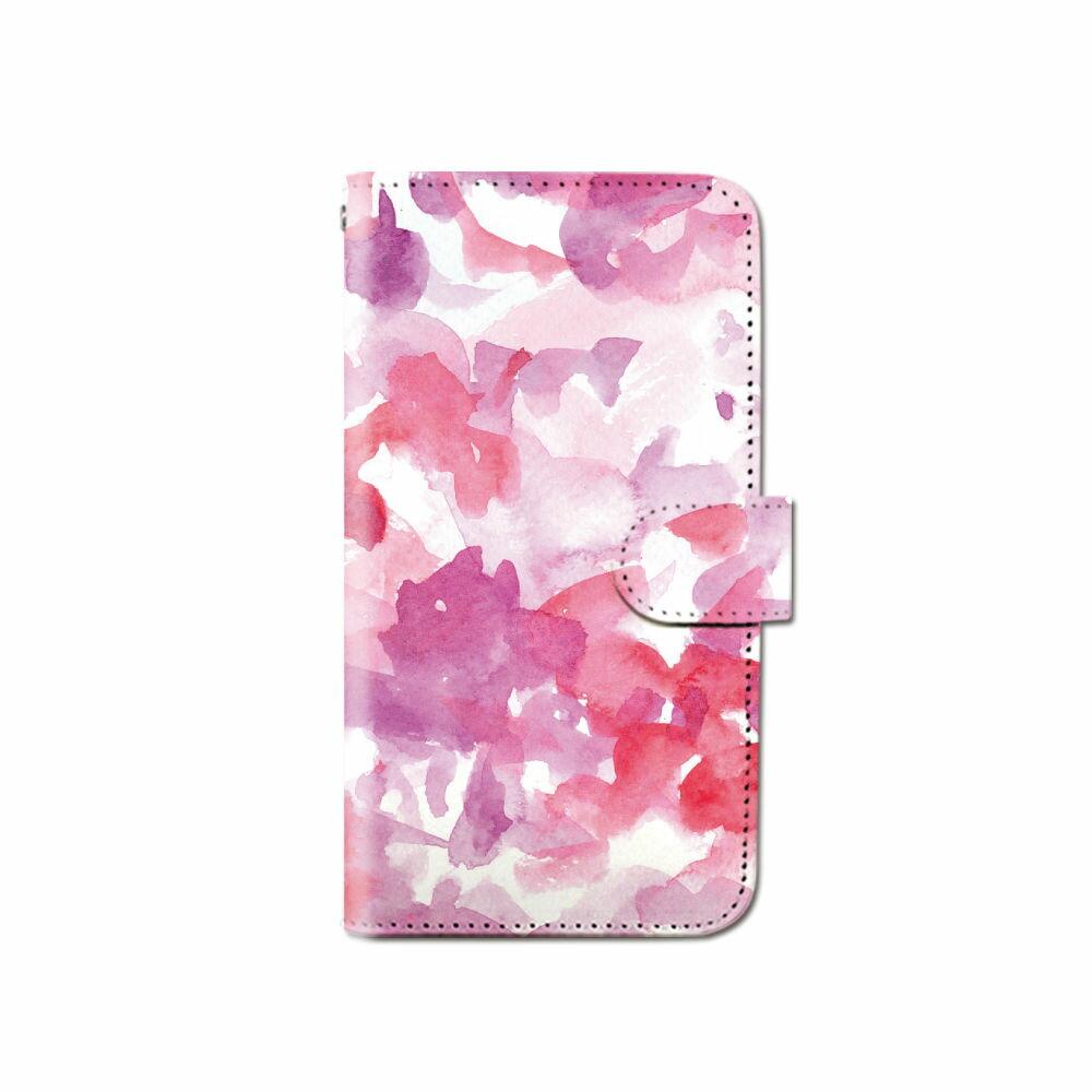 スマホケース 全機種対応 手帳型 ペイント 水彩 パステル iPhone XS XR Xperia XZ1 XZ3 SOV36 iPhone8 Galaxy S9 S8 android one S5 X5 AQUOS ARROWS 手帳型ケース ベルトなし