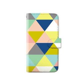 スマホケース 手帳型 全機種対応 カラフル トライアングル 北欧 iPhone XS XR Xperia XZ3 Ace iPhone8 Galaxy S10 S9 android one S5 S3 X5 AQUOS ARROWS Google pixel 3a らくらくスマートフォン BASIO3 手帳型ケース ベルトなし メール便 送料無料