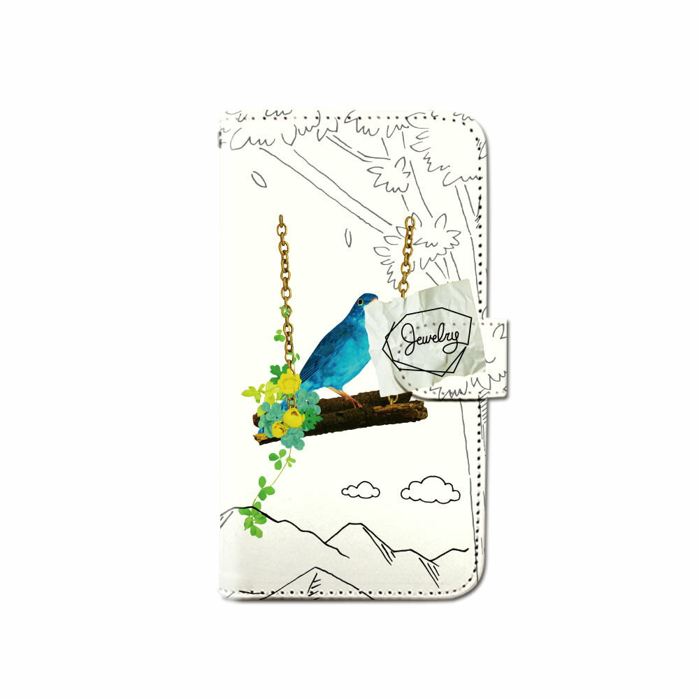 スマホケース 手帳型 全機種対応 [小鳥 青い鳥] iPhone XS XR Xperia XZ3 iPhone8 Galaxy S9 S8 android one S5 S3 X5 らくらくスマートフォン かんたんスマホ 705kc BASIO 手帳型ケース ベルトなし メール便 送料無料