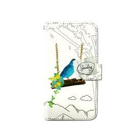 スマホケース 手帳型 全機種対応 小鳥 青い鳥 iPhone XS XR Xperia XZ3 Ace iPhone8 Galaxy S10 S9 android one S5 S3 X5 AQUOS ARROWS Google pixel 3a らくらくスマートフォン BASIO3 手帳型ケース ベルトなし メール便 送料無料