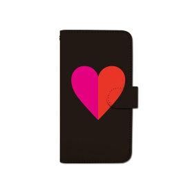 スマホケース 手帳型 全機種対応 バイカラー ハート iPhone XS XR iPhone11 Xperia XZ3 Ace iPhone8 Galaxy S10 S9 android one S5 S3 AQUOS ARROWS Google pixel 3a らくらくスマートフォン BASIO3 手帳型ケース ベルトなし メール便 送料無料
