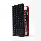 iPhoneiPhoneXケース手帳型[スタッズ黒×赤]スマホケース手帳型全機種対応XperiaXZ1ケースiPhone8ケースAQUOSRケースSC-04Jギャラクシーs8カバーSO-01KSO-02KケースSOV36手帳型ケースおしゃれ