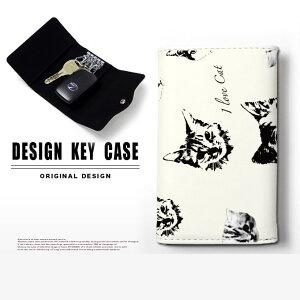 キーケース 4連 キーホルダー キャット フェイス 猫 顔 ネコ スマートキー メンズ レディース かわいい 鍵入れ キーリング キーチェーン カード入れ 鍵 フェイクレザー 合皮 プリント メール