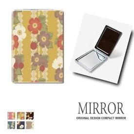 折りたたみ 鏡 ミラー 花柄 フラワー 植物 秋 卓上ミラー 化粧鏡 かがみ コンパクトミラー かわいい メイク用 拡大鏡 拡大 両面 角型 ズーム