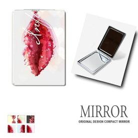 折りたたみ 鏡 ミラー くちびる 口紅 パステル ハート 卓上ミラー 化粧鏡 かがみ コンパクトミラー かわいい メイク用 拡大鏡 拡大 両面 角型 ズーム