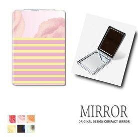 折りたたみ 鏡 ミラー 花柄 フラワー ボーダー 卓上ミラー 化粧鏡 かがみ コンパクトミラー かわいい メイク用 拡大鏡 拡大 両面 角型 ズーム
