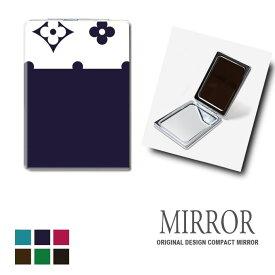 折りたたみ 鏡 ミラー 花柄 ポップ アート モノグラム 卓上ミラー 化粧鏡 かがみ コンパクトミラー かわいい メイク用 拡大鏡 拡大 両面 角型 ズーム